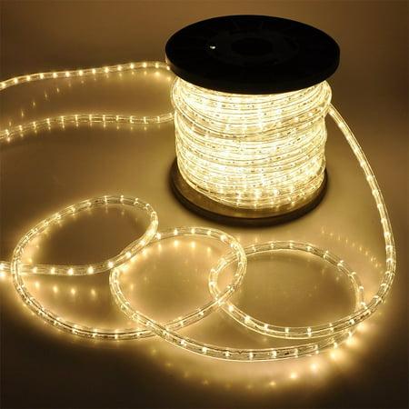Arksen Flexible 150' LED Crystal Clear PVC Tubing Rope Kit Light, Warm White ()