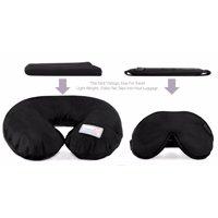 Dream Essentials Travel Flat Pack Neck Pillow Plus Escape Sleep Mask Bundle  -Black