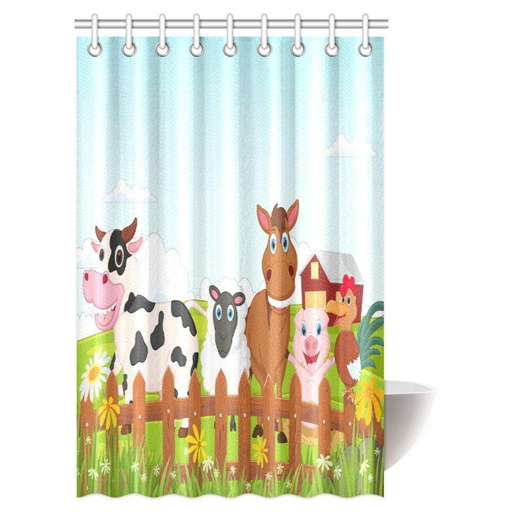GCKG Cartoon Decor Shower Curtain Happy Farm Animal Collection Fabric Bathroom Set 48x72 Inches