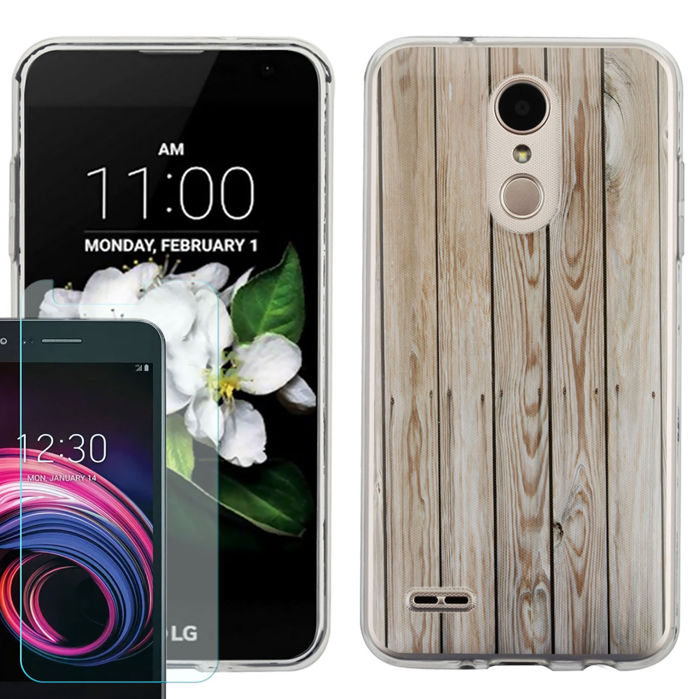 Phone Case for LG Rebel 4 LTE / Risio 3 / Fortune 2 / Zone 4 / Phoenix 4, Slim-Fit TPU Case with Tempered Glass Screen Protector, by OneToughShield ® - Wood Print