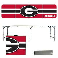 Georgia Bulldogs Striped Design 8' Portable Folding Tailgate Table - No Size