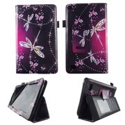 Sparkly Butterfly Folio Case  Fire 7 inch Slim Fit Pu Leather Standing Protective Cover for Amazon Fire 7 Tablet 2015 5th Gen Stylus Holder ID Slots