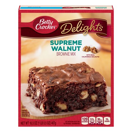 (2 Pack) Betty Crocker Delights Brownie Mix Supreme Walnut, 16.5 oz