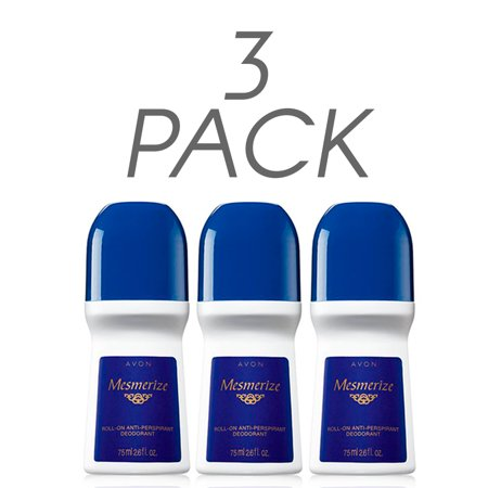 - Avon Deodorant Men's Roll-on Mesmerize, Quick-drying, Non-whitening, Anti-stain formula, 24-Hour Odor and Wetness Protection, 2.6oz/75ml. Pack of 3
