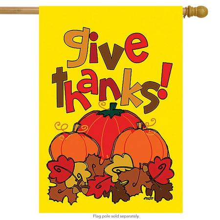 Give Thanks Fall House Flag Pumpkins Thanksgiving 28