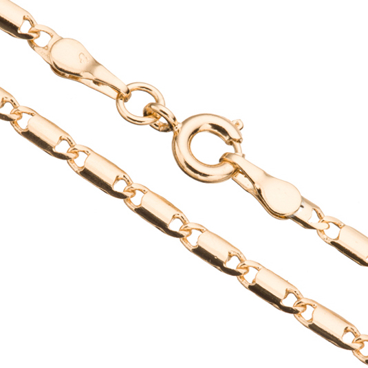 Gold Lock Chain Necklace With Springring Clasp 18Inch 14K Gold Finished Brass 3mm Chain Width Sold per pkg of 1pcs