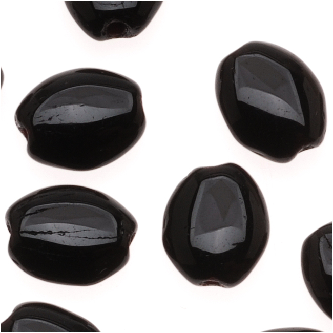 Czech Glass Flat Smooth Oval 8mm X 6mm Jet Black (25 Beads)