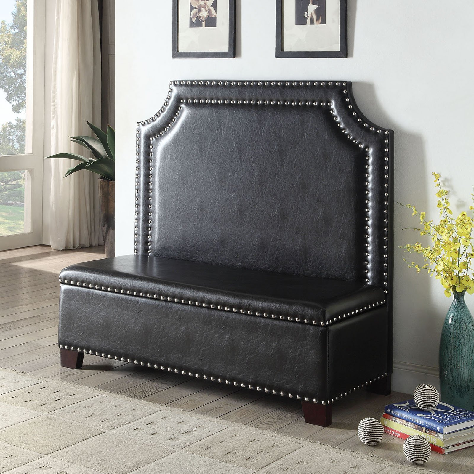 ACME Fadey Settee Storage Seat, Espresso PU, Box 2 of 2