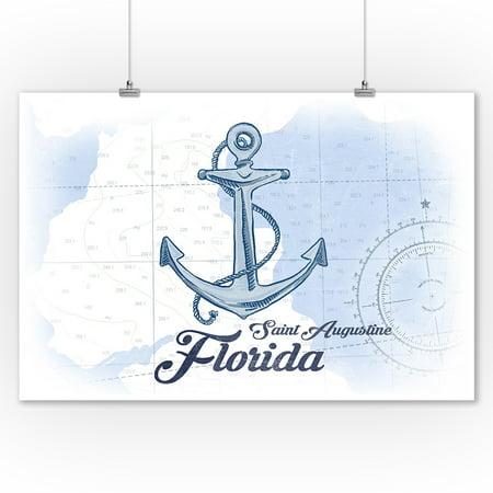 Saint Augustine, Florida - Anchor - Blue - Coastal Icon - Lantern Press Artwork (9x12 Art Print, Wall Decor Travel Poster) (Saint Augustine Outlets)
