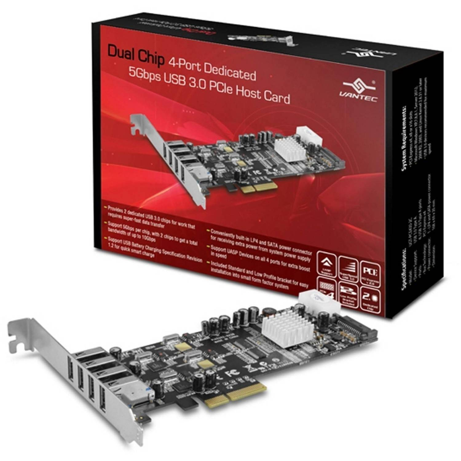 Vantec UGT-PCE430-2C Dual Chip 4-Port Dedicated 5GBps USB 3.0 PCIe Host Card, Silver