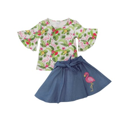 So Sydney Girls Toddler Novelty Outift or Dress Spring Summer Tropical Flamingo Collection - Spring Costume