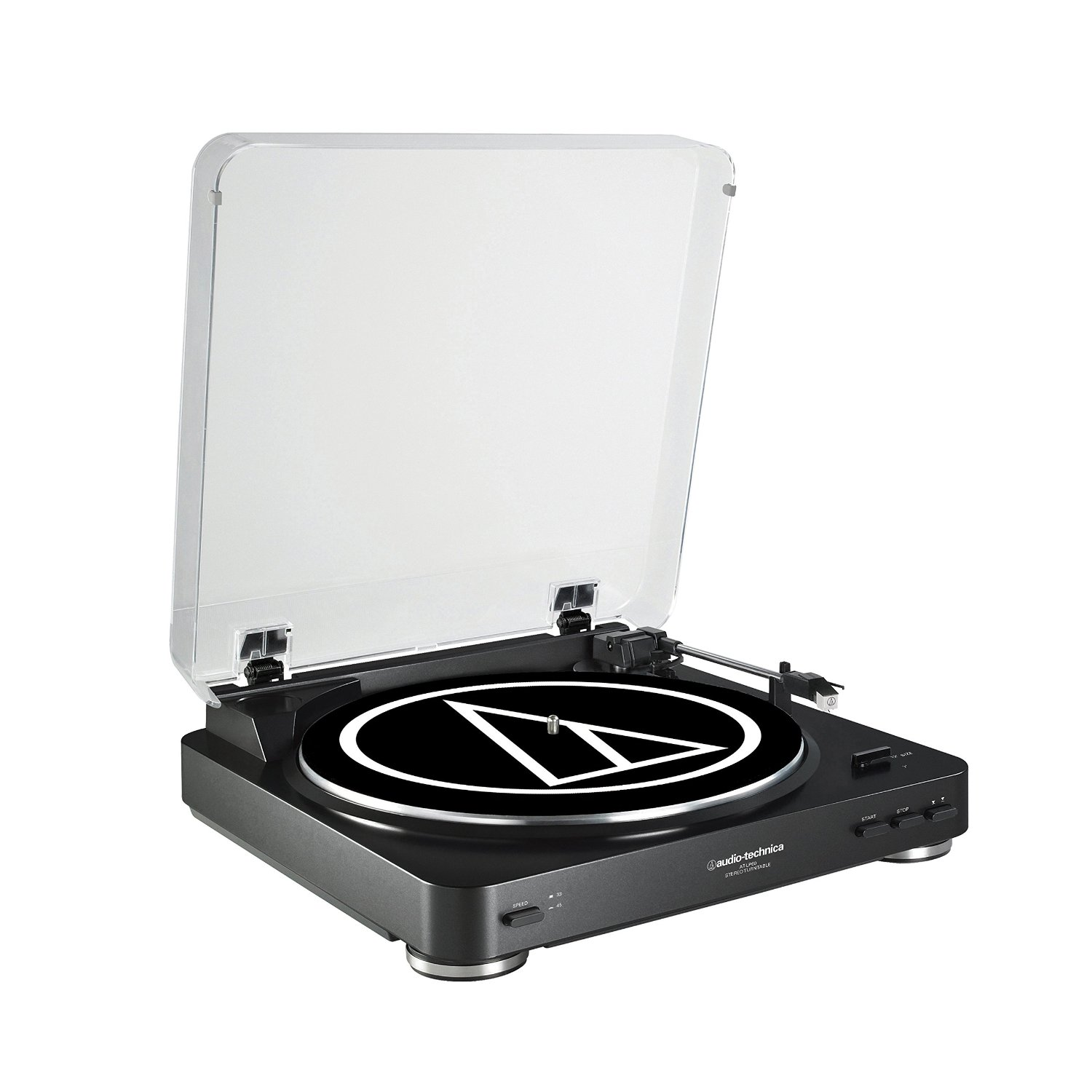 Audio Technica AT-LP60BK Fully Automatic Belt-Drive Stereo Turntable, Black (at-lp60bk)