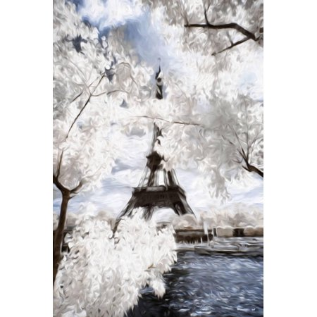 View of the Eiifel Tower - In the Style of Oil Painting Spring Paris CIty Park Eiffel Tower Scene Print Wall Art By Philippe Hugonnard