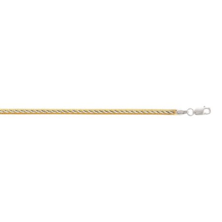 Sterling Silver Gold-Flashed 4.0mm Two-tone Herringbone Chain Reversible Wear Anklet - 10 Inch