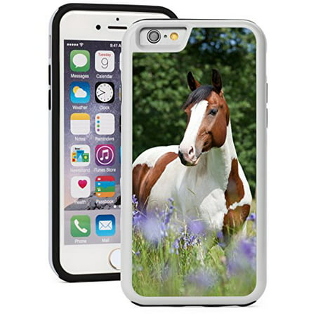 For Apple iPhone 6 6s Shockproof Impact Hard Soft Case Cover Paint Horse in Blooming Meadow (White)