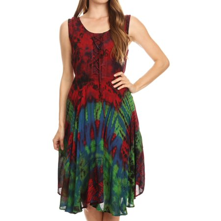 Sakkas Mathilde Marble Tie-dye Sleeveless Tank Dress Tiered and Corset - Red - L/XL (Halloween Corset Dresses)