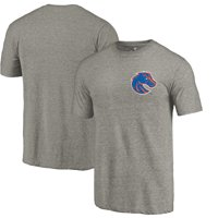 Boise State Broncos Fanatics Branded Left Chest Distressed Logo Tri-Blend T-Shirt - Gray Heathered
