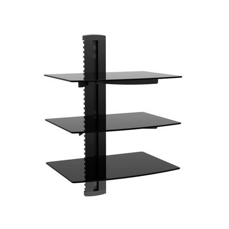 3 Tier Electronic Component Glass Shelf Wall Mount Bracket With Cable Management System  Ul Certified