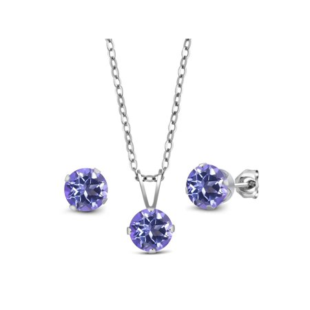 3.00 Ct Tanzanite Blue Mystic Topaz 925 Silver Pendant Earrings Set With Chain