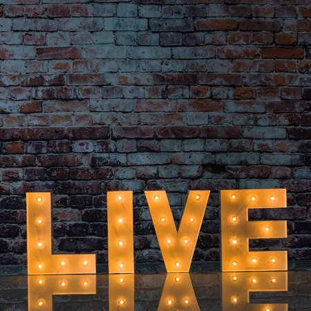 Fantado White Marquee Light 'LIVE' LED Metal Sign (8 Inch, Battery Operated w/ Timer) by PaperLanternStore ()