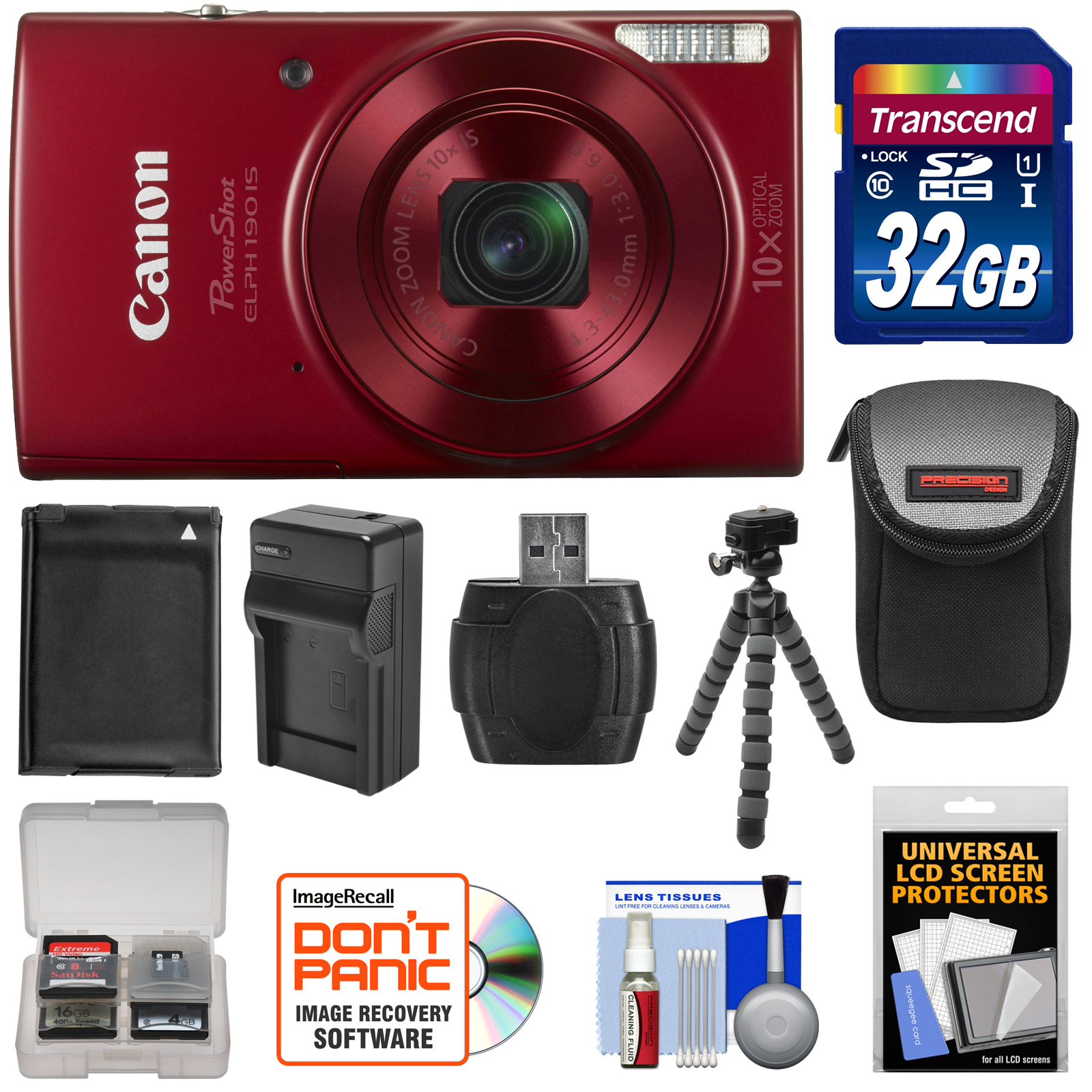 Canon PowerShot Elph 190 IS Wi-Fi Digital Camera (Red) wi...