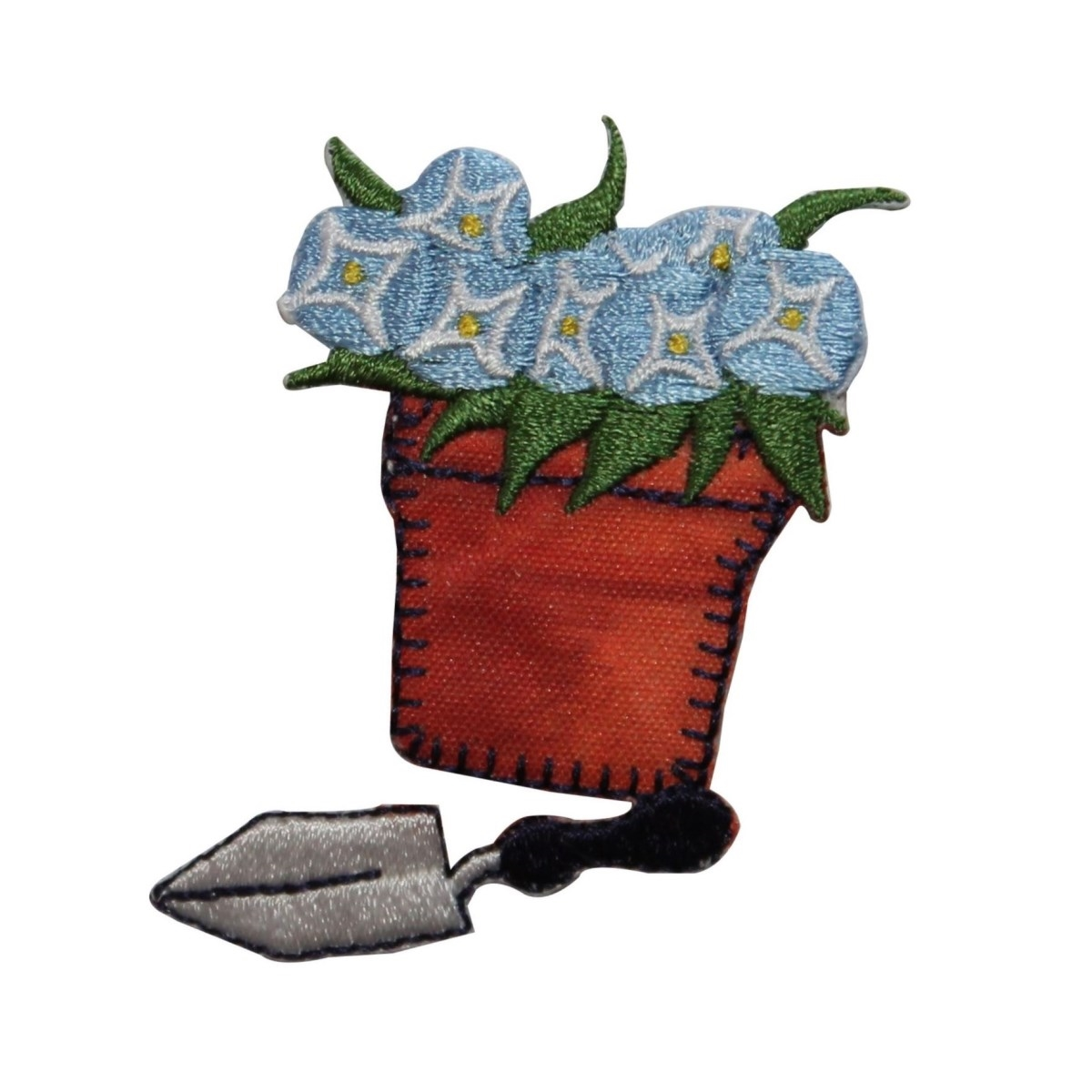 ID 7095 Potted Flowers With Trowel Patch Garden Tool Embroidered IronOn Applique