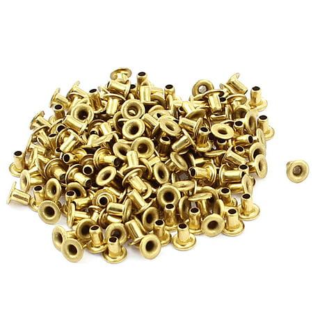 - 200 Pcs M2*3 copper Tone Eyelet Buttonhole rivet Retainer Ring Button Buckle