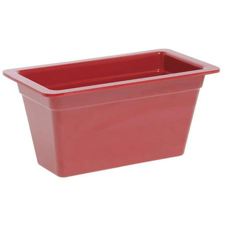 Food Pan 1/3 Size Red Melamine - 12 1/2 L x 6 3/4 W x 6