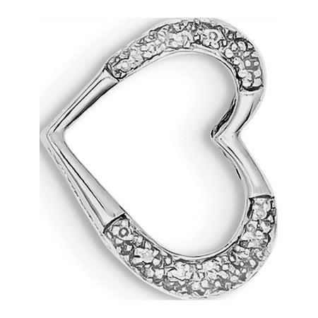 Argent 925 rhodi? Coeur de diamant (15x17mm) Pendentif / Breloque - image 2 de 2