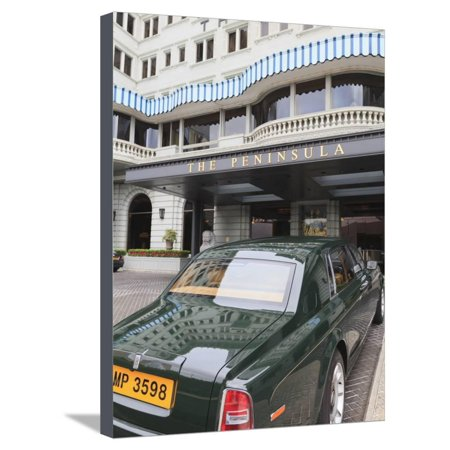 The Peninsula Hotel and One of the Hotel's Fleet of Green Rolls Royces, Hong Kong, China, Asia Stretched Canvas Print Wall Art By Amanda Hall - Hong Kongs Many Rolls