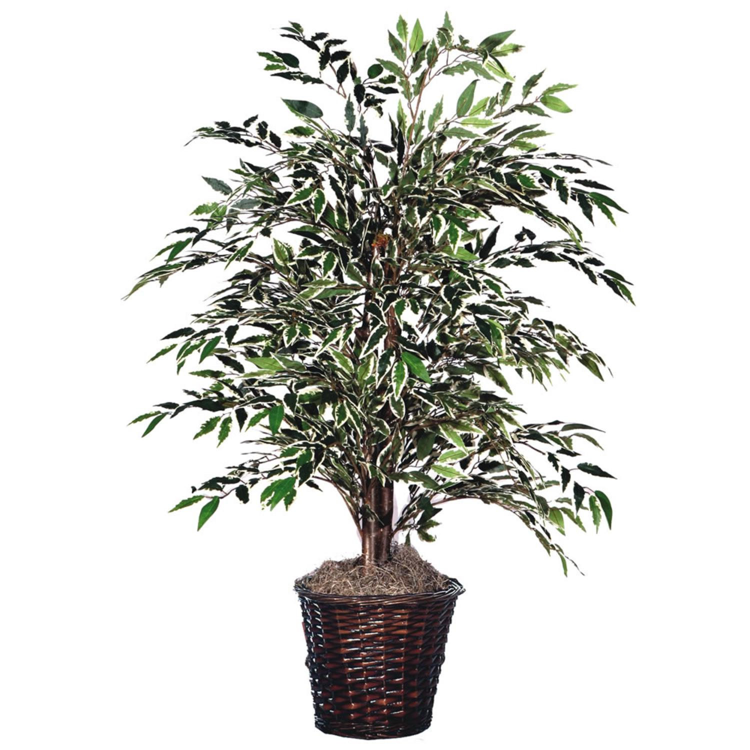 4' Potted Artificial Variegated Smilax Bush in Brown Pot