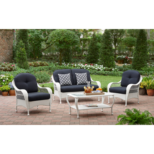 Better Homes and Gardens Azalea Ridge 4-Piece Patio Conversation Set, White, Seats 4