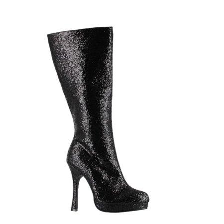 907c59ee41352 Womens Glitter Knee High Boot - Black Footwear