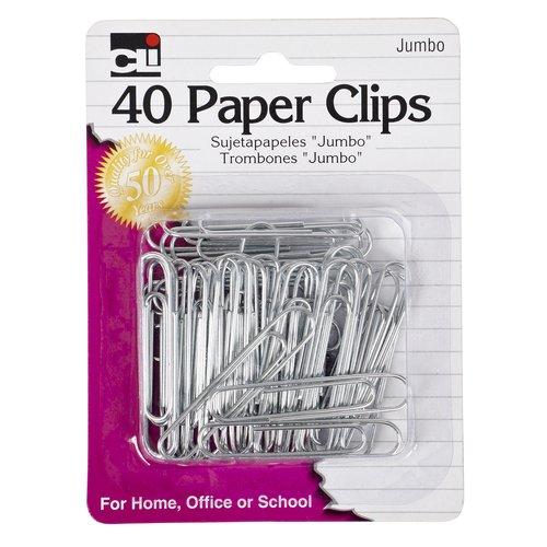 Charles Leonard Paper Clips, Jumbo Gem, Nickel Plated, Silver, 40-Pack 80550