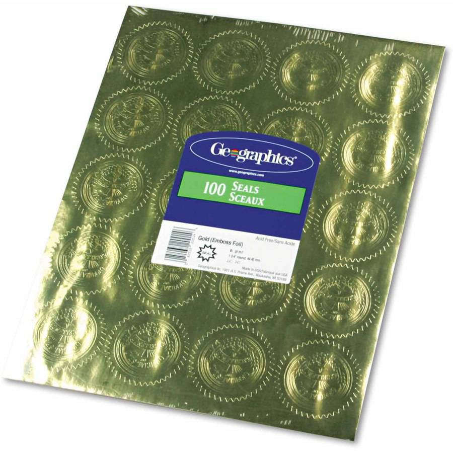 "Geographics Gold Foil Embossed ""Official Seal of Excellence"" Seals, 100-Pack"