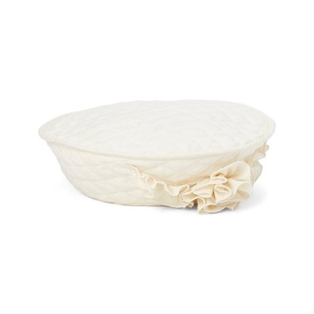 Little Girls Ivory Quilted Texture Elegant Flower Accent Hat (Cotton Quilted Cap)