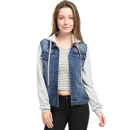 Women's Layered Long Sleeves Hooded Denim Jacket w Pockets Blue (Size L / - Bi Layer Jacket