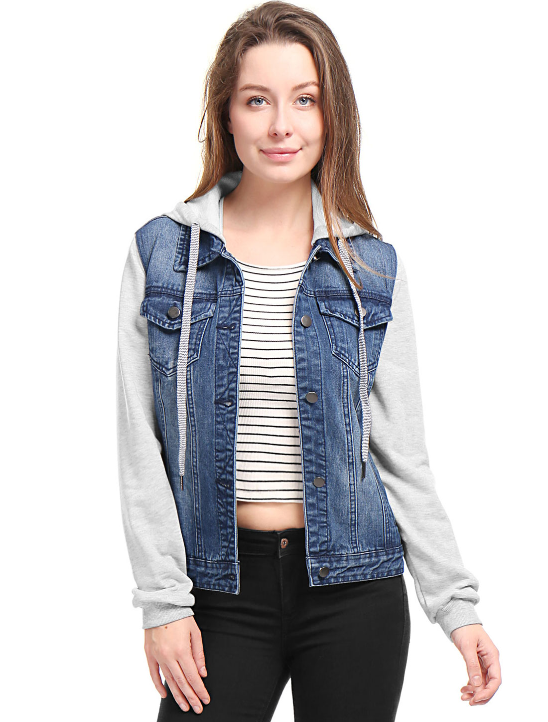 Women's Layered Long Sleeves Hooded Denim Jacket w Pockets Blue (Size L / 12)