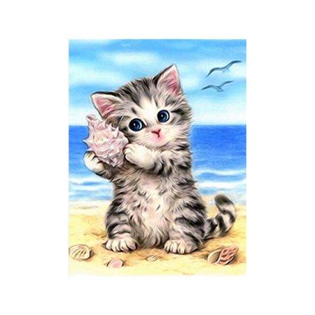2 Pcs 5D Beach Cat Rhinestone Diamond Painting Animal Drill Crystal Embroidery Needlework DIY Indoor Decoration Cross
