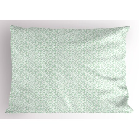 Hawaiian Prom Themes (Luau Pillow Sham Flourish Pattern with Blossoming Hibiscus Flowers Springtime in Hawaii Theme, Decorative Standard Size Printed Pillowcase, 26 X 20 Inches, Mint Green White, by)