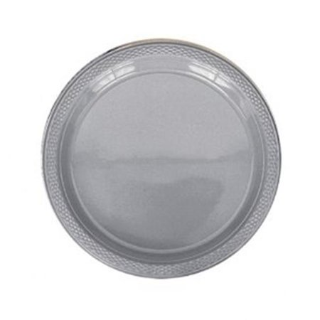 CPC 7345G 9 in. Heavy Duty Disposable Plastic Plates, Silver - Case of 20 (Heavy Duty Plastic Plates)