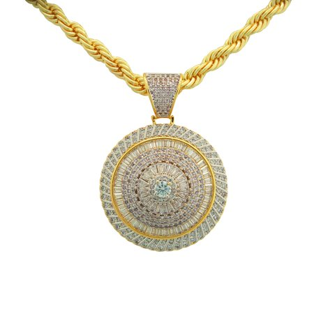 """14K Gold Plated Hip Hop Bling Iced Out Round Baguette Stone Spinner Pendant with 24"""" Rope Chain"""