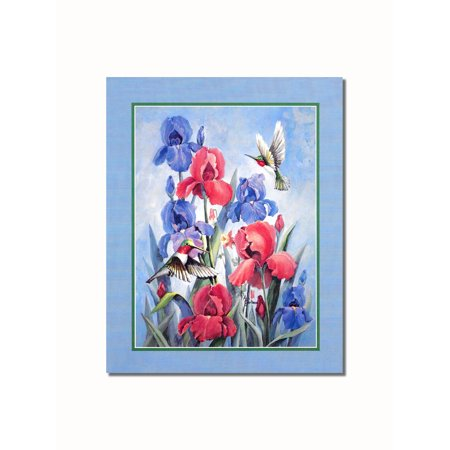 Hummingbirds in Red and Blue Flowers #1 Wall Picture 8x10 Art Print (Hummingbird Wall Art)