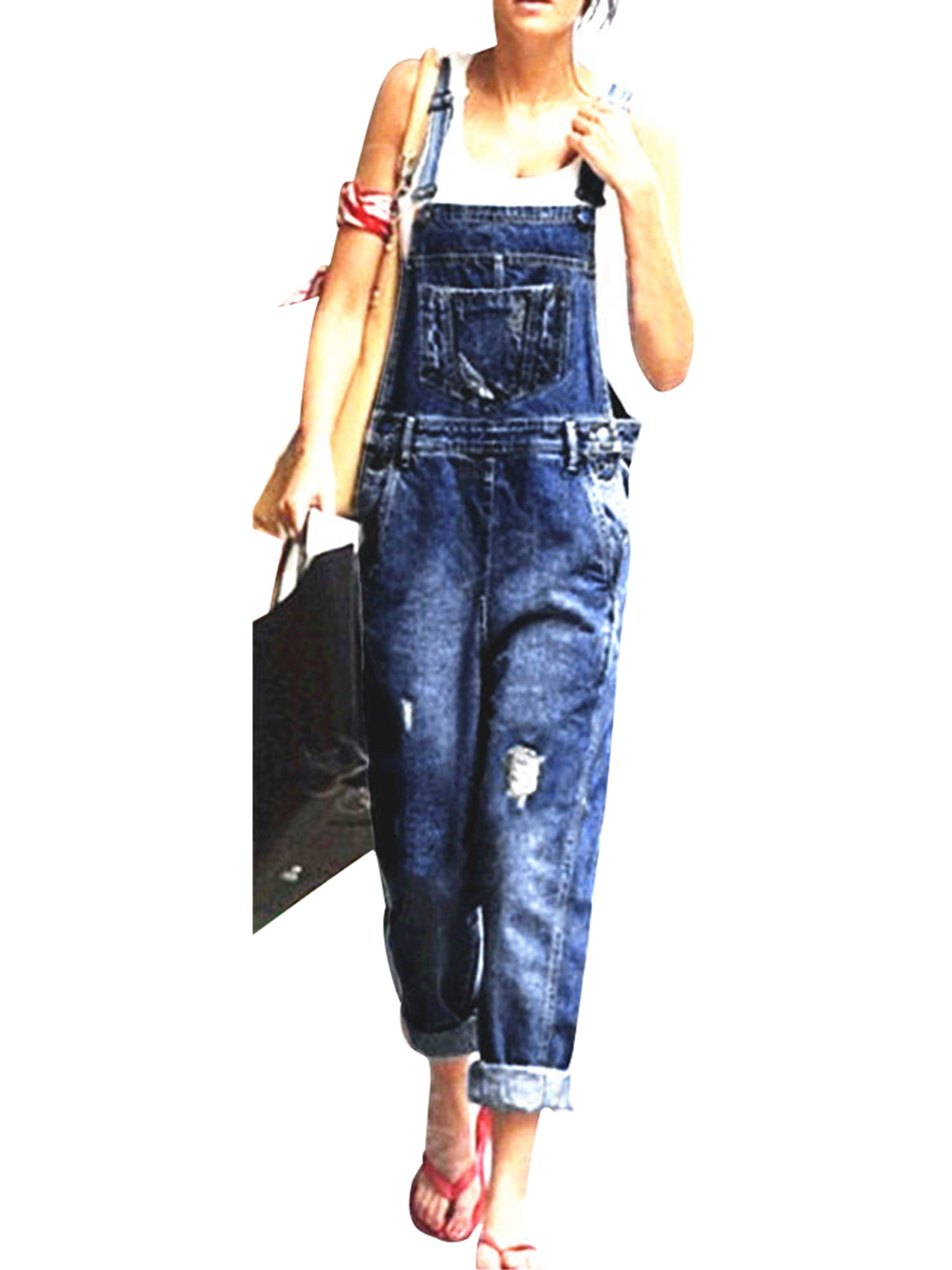 Women Denim Overall Light Wash Denim Casual Jumpsuit Shorts Trousers Dungarees