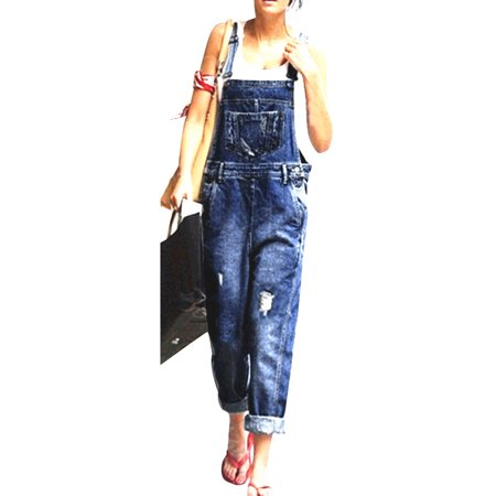 Women Denim Jumpsuit Dungarees Playsuit Distressed Ripped Jeans Straps Overalls Trousers  Loose Sleeveless Baggy Pockets Long Bib Pants Blue (70's Women's Jumpsuits)