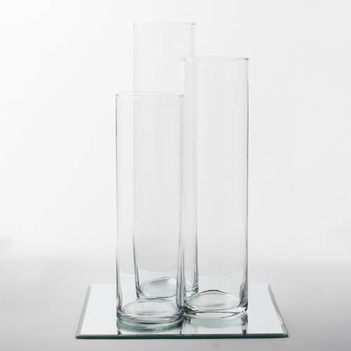Eastland Square Mirror and Tall Cylinder Vase Centerpiece Set of 4 by