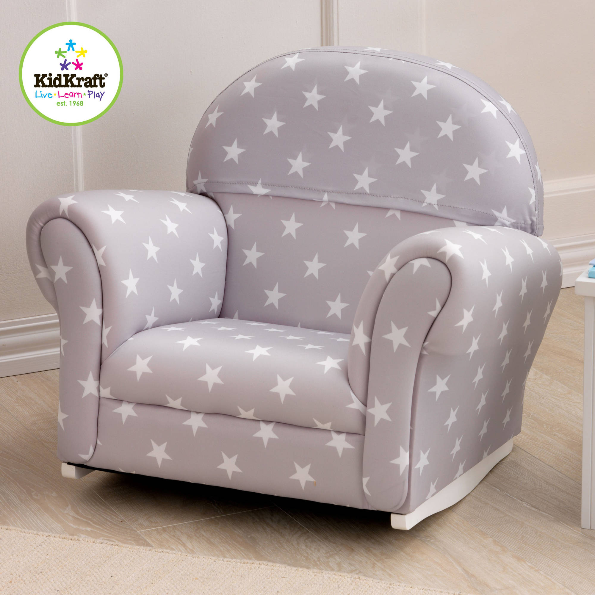 KidKraft Upholstered Rocker, Grey with Stars