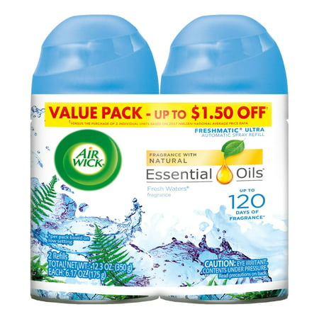 (Air Wick Freshmatic 2 Refills Automatic Spray, Fresh Waters, (2X6.17oz), Air Freshener)