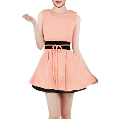 Women's Elegant Self Tie String Ruffled Hem Chiffon Summer Dresses (Size S / 4) ShopFest Money Saver