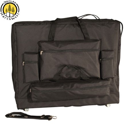 DevLon NorthWest Universal Massage Table Carrying Case With Wheels 4 Front Pockets Black (28